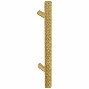 satin brass knurled t handle handles inc