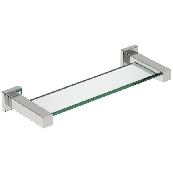 polished stainless steel square glass shelf handles inc