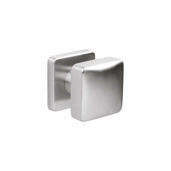 brushed stainless steel square fixed door knob handles inc