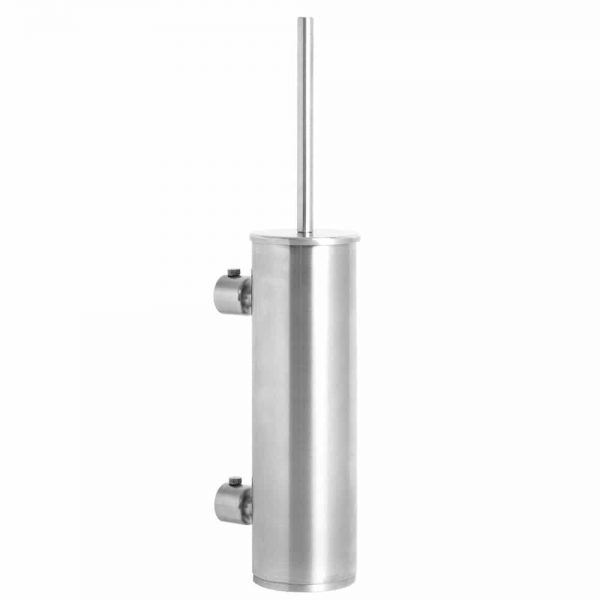 Brushed stainless steel wall mounted tall round toilet brush