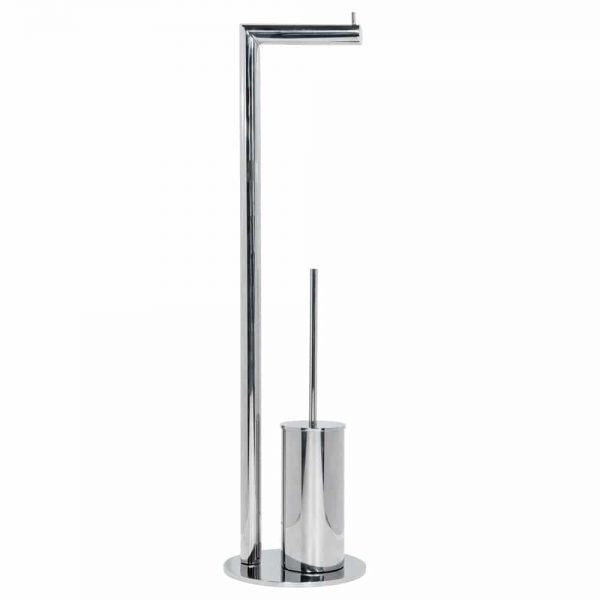 Polished stainless steel round freestanding toilet roll and brush Handles Inc