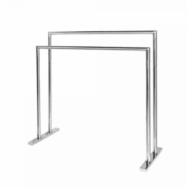 Polished stainless steel freestanding double towel rail Handles Inc
