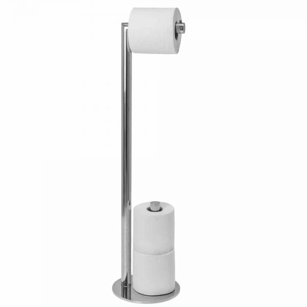 Polished stainless steel freestanding spare toilet roll holder Handles Inc