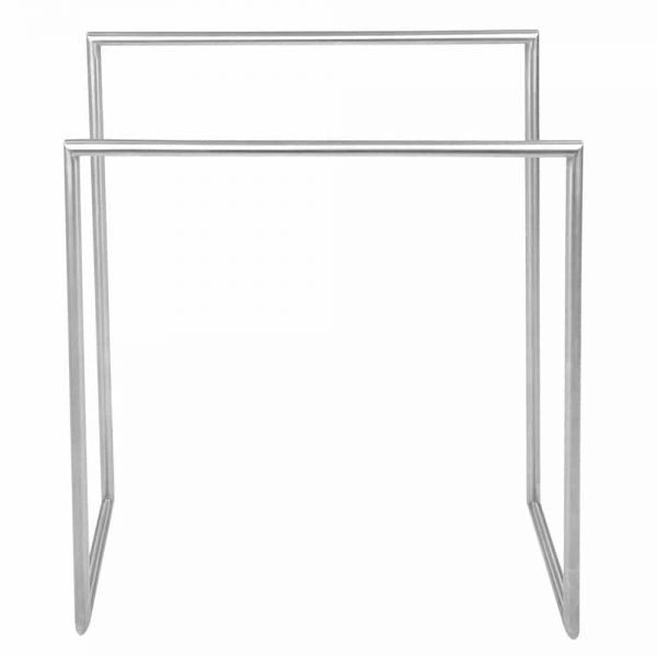Brushed stainless steel freestanding double towel rail Handles Inc