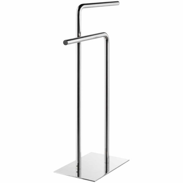 Polished stainless steel two arm freestanding towel rail Handles Inc