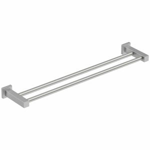 Brushed stainless steel double towel rail Bathroom Butler