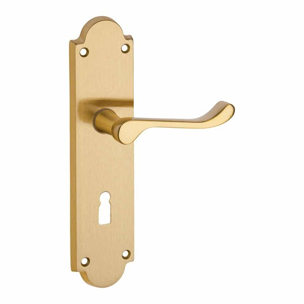 satin brass lever handle on backplate handles inc
